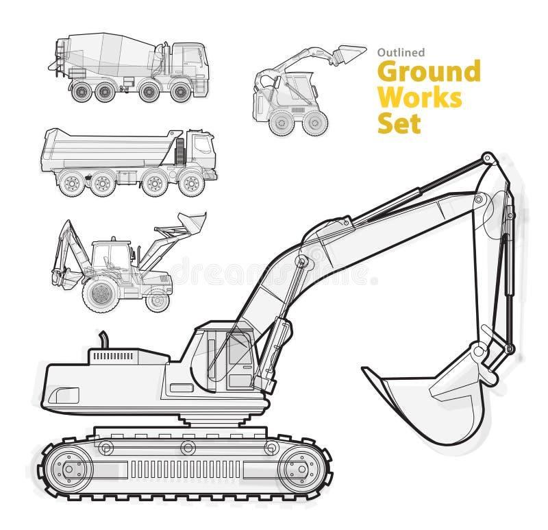 Jordning arbetar maskinmedel, svartvit skisserad sammansättning Utrustning för konstruktionsmaskineri royaltyfri illustrationer