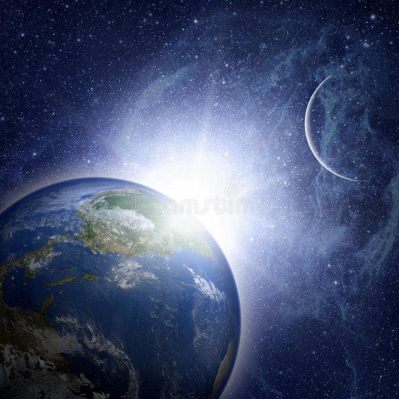 Jordplanet i avstånd royaltyfri illustrationer