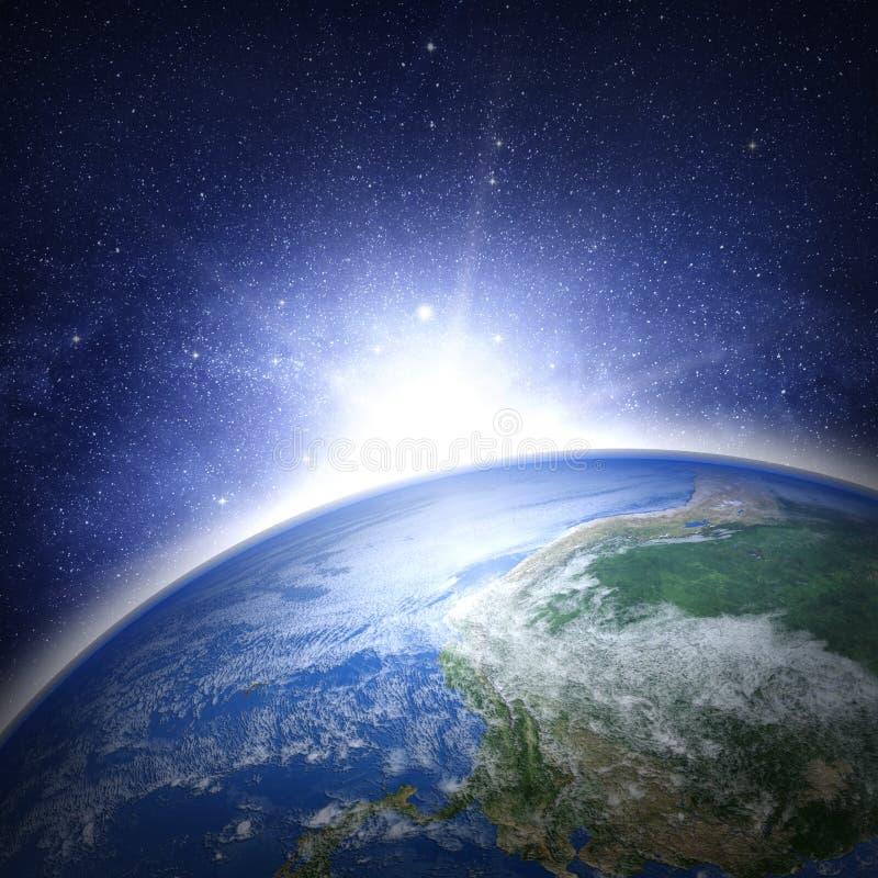 Jordplanet i avstånd stock illustrationer