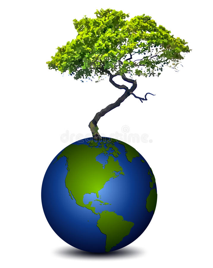 Jordplanet med ett träd vektor stock illustrationer