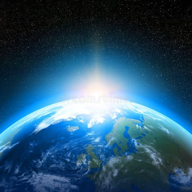 Jordplanet som beskådas från utrymme vektor illustrationer
