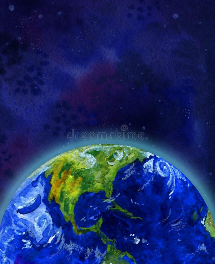 Jordplaneten i halv sikt för utrymme av Nordamerika - räcka den utdragna vattenfärgillustrationen stock illustrationer