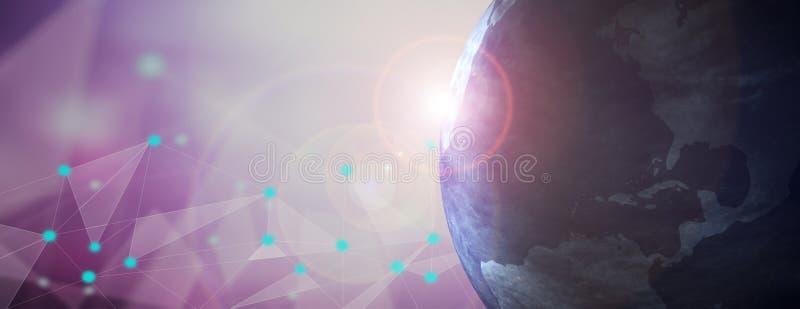 Jordplanetsikt från utrymme, bakgrund för digitalt nätverk illustration 3d royaltyfri illustrationer