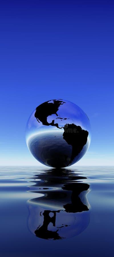 jordreflexionsvatten stock illustrationer