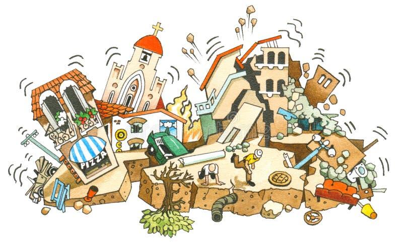 jordskalv stock illustrationer