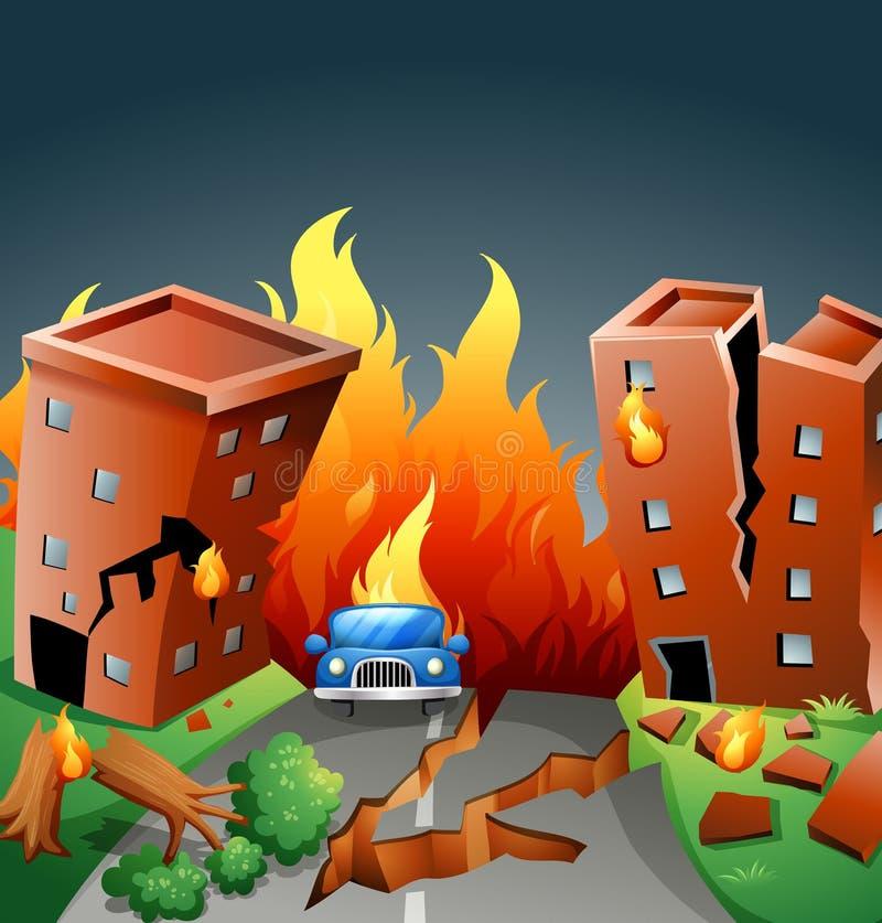 Jordskalv med viktig brand i staden royaltyfri illustrationer