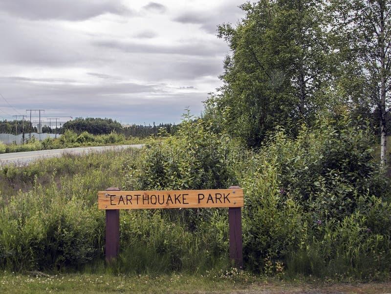 Jordskalvet parkerar tecknet arkivbild