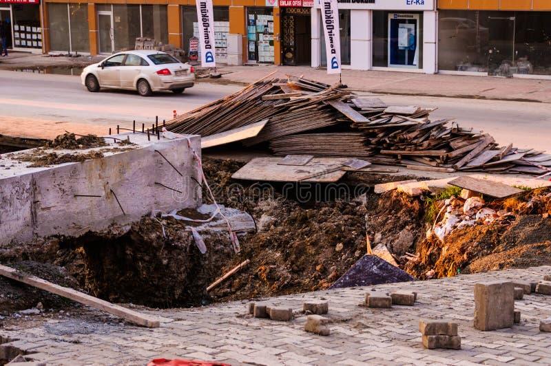 Jordskred på konstruktionsområde fotografering för bildbyråer