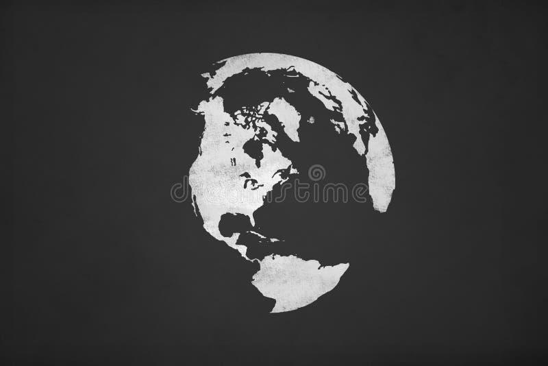 Jordsymbol på kritabräde royaltyfri illustrationer