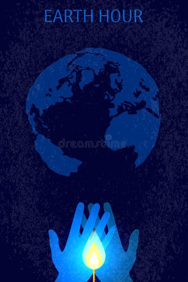 Jordtimme Kontur av en planet utan elektrisk belysning Händer som rymmer en stearinljusflamma stock illustrationer