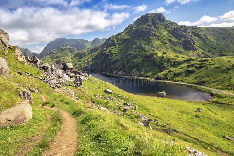 Jordväg i berg på vägen till Himmeltinden, Lofoten öar, Norge royaltyfri foto