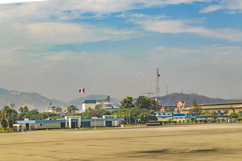 Jorge Chavez Airport, Lima, Peru. LIMA, PERU, APRIL - 2016 - Airplane parked at airport in Lima city, Peru royalty free stock photography