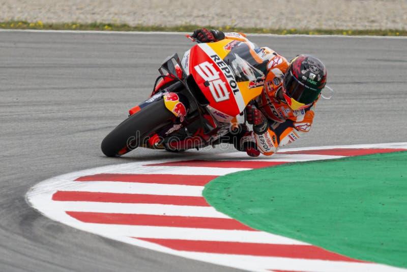jorge lorenzo Grand Prix av Catalonia MotoGP på strömkretsen av Catalonia arkivbild