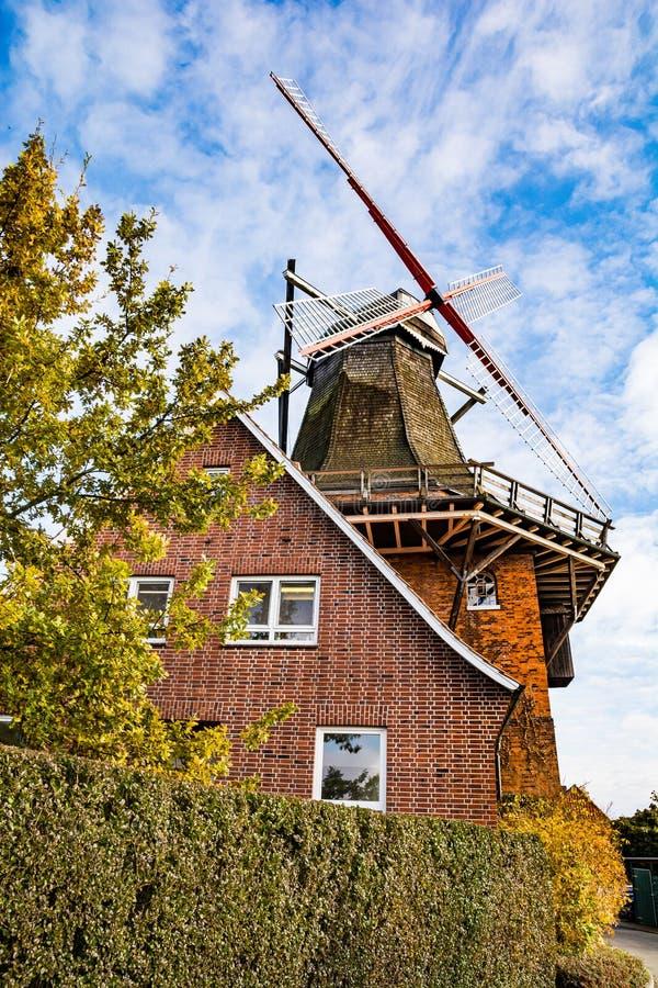 Jork, Germany - November 09, 2019. Old windmill rebuilt to restaurant Die Muehle Jork.  stock image