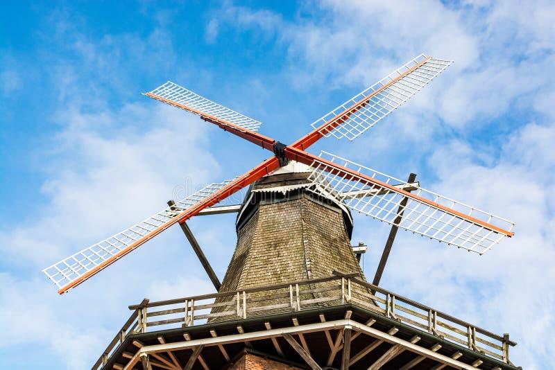 Jork, Germany - November 09, 2019. Old windmill rebuilt to restaurant Die Muehle Jork.  stock photo