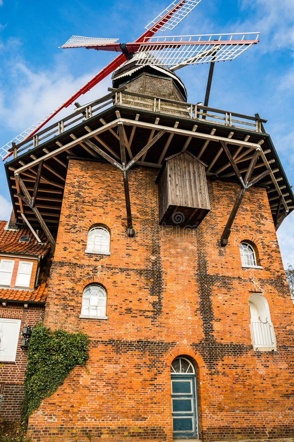 Jork, Germany - November 09, 2019. Old windmill rebuilt to restaurant Die Muehle Jork.  royalty free stock images