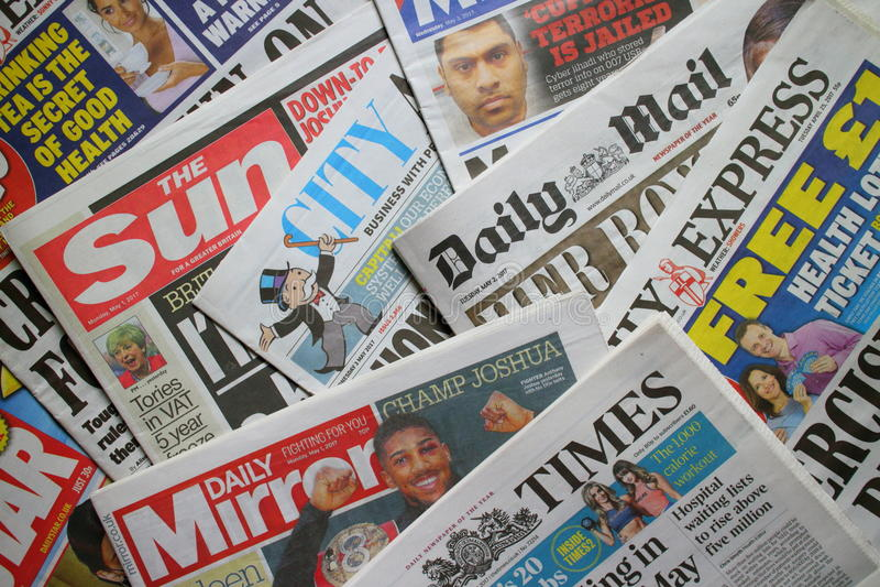 Jornais britânicos fotos de stock royalty free
