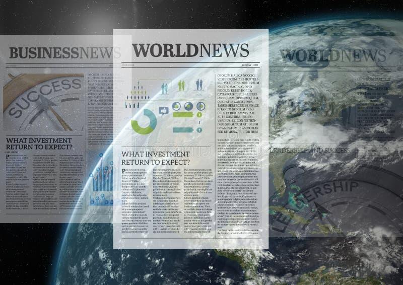 Jornais sobre a transição global do mundo ilustração do vetor