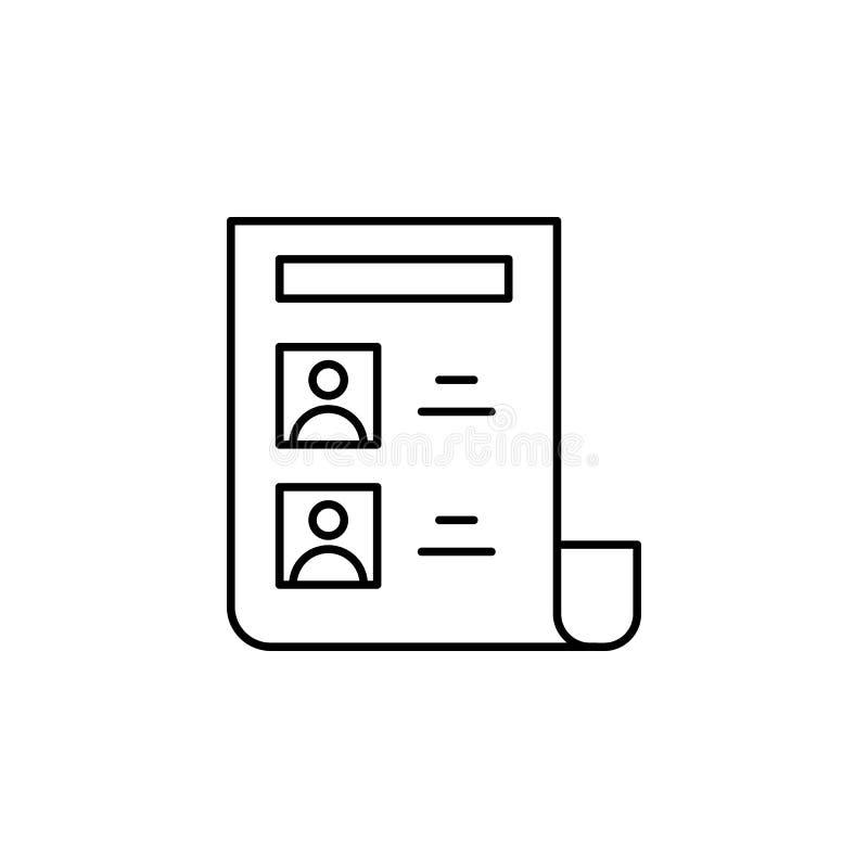 Jornal, ícone dos compartimentos Elemento do ícone da lei e da justiça Linha fina ícone para o projeto do Web site e o desenvolvi ilustração stock