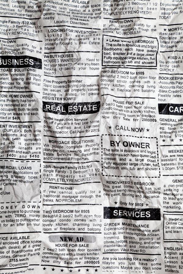 Jornal amarrotado imagem de stock royalty free