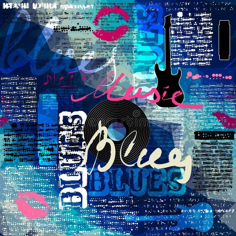 Jornal azul do Grunge com inscrição originais ilustração royalty free