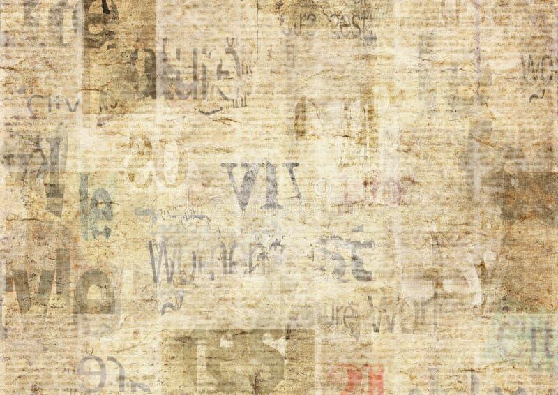 Jornal com fundo de papel ilegível da textura do vintage velho do grunge fotos de stock royalty free