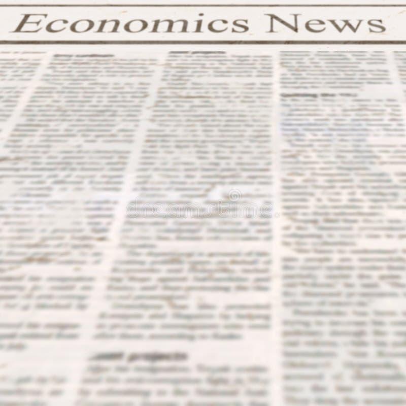 Jornal com notícia da economia do título e texto ilegível velho fotos de stock royalty free