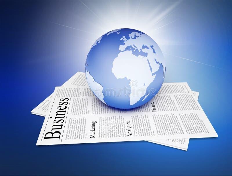 Jornal com o globo do planeta da terra sobre ilustração do vetor