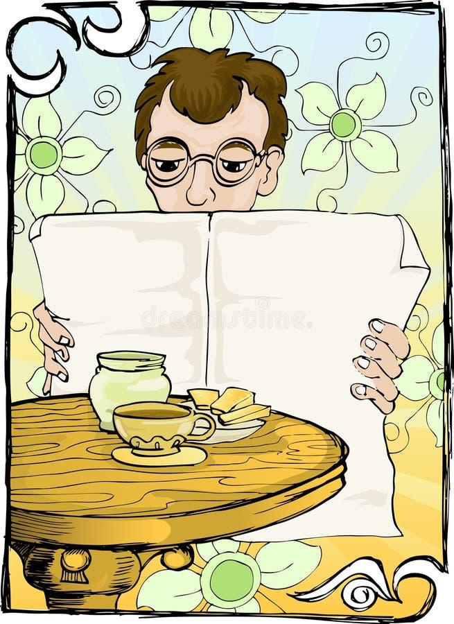Jornal da leitura com café ilustração do vetor