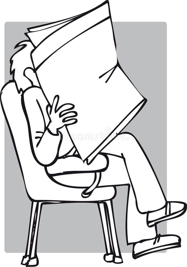 Jornal da leitura da pessoa ilustração stock