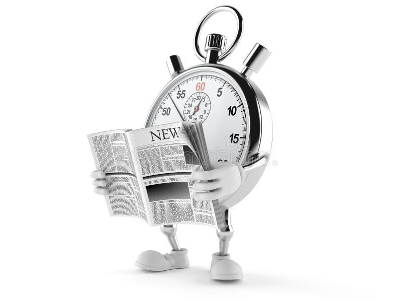 Jornal da leitura do caráter do cronômetro ilustração do vetor