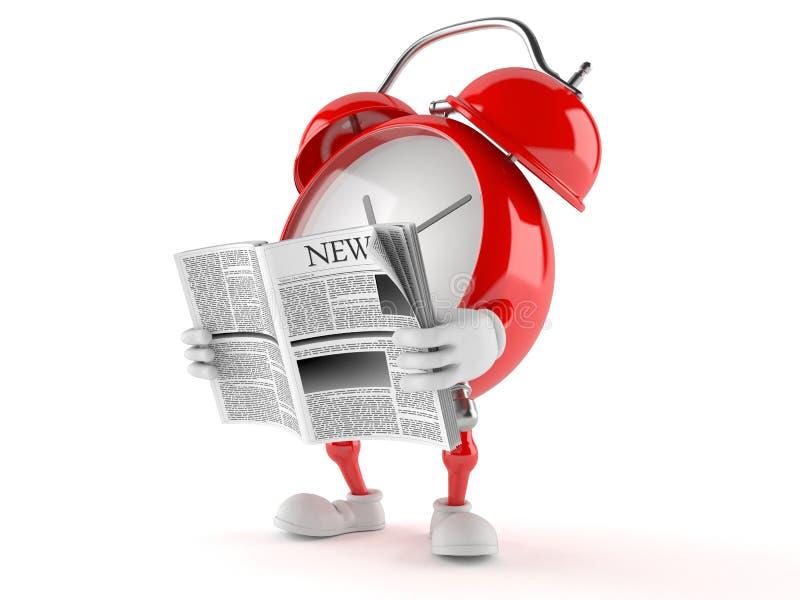 Jornal da leitura do caráter do despertador ilustração royalty free