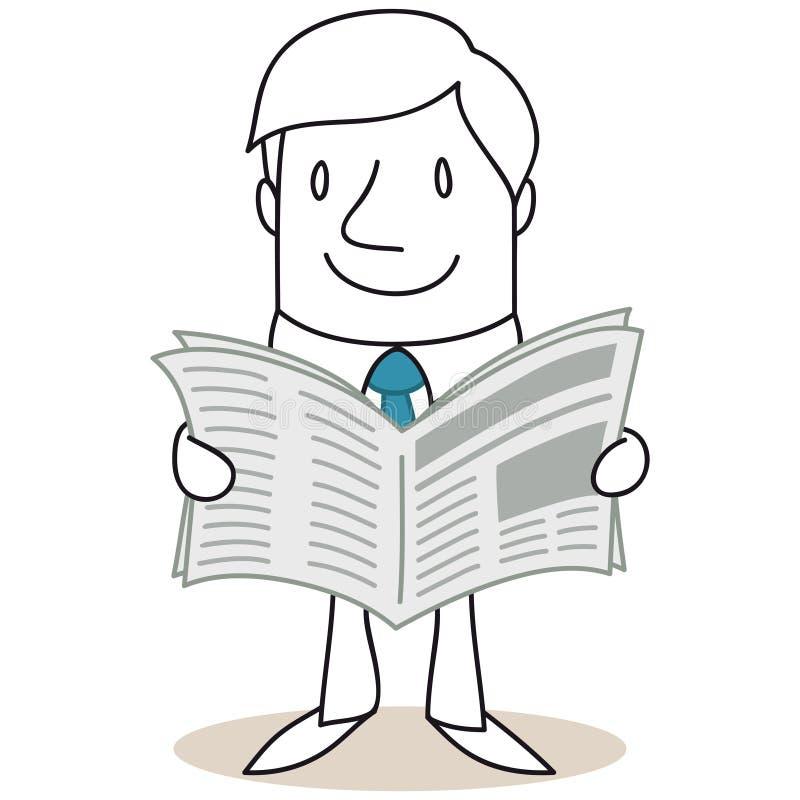 Jornal da leitura do homem de negócios dos desenhos animados ilustração royalty free