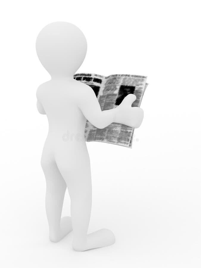 Jornal da leitura do homem no fundo isolado branco ilustração royalty free