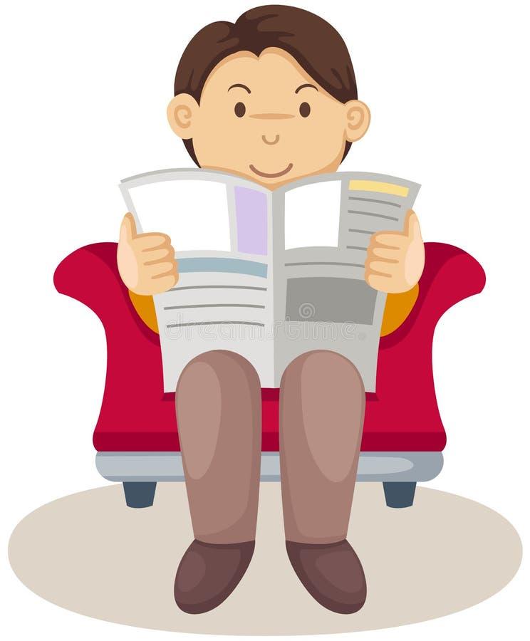 Jornal da leitura do homem novo ilustração stock