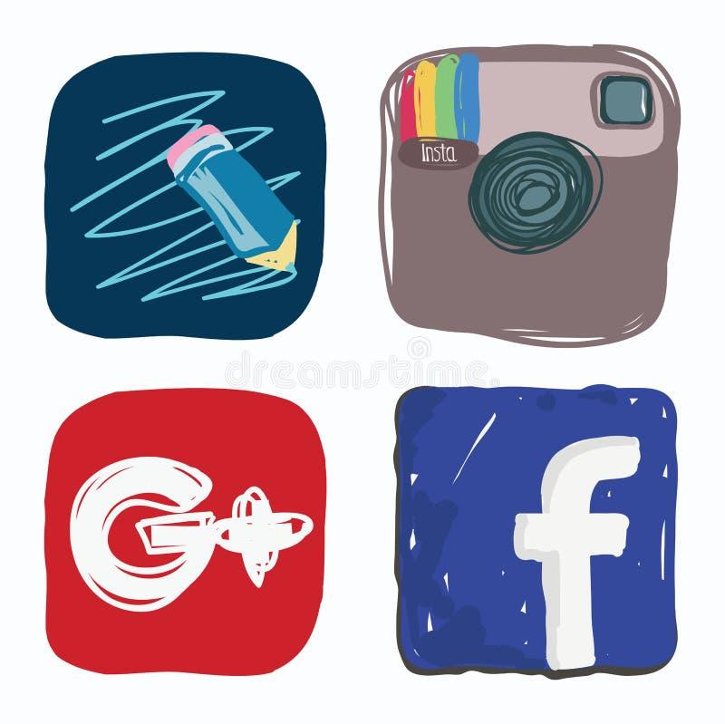 Jornal da vida, facebook, instagram, Google mais o ícone de meios sociais, garatuja da cor foto de stock