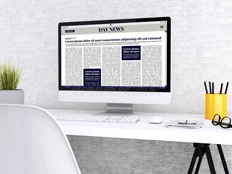jornal de 3d Digitas no tela de computador ilustração stock