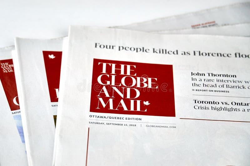 Jornal de The Globe e do correio fotografia de stock