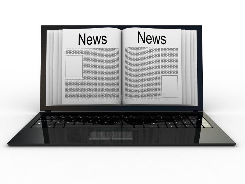 Jornal de negócio no portátil ilustração stock