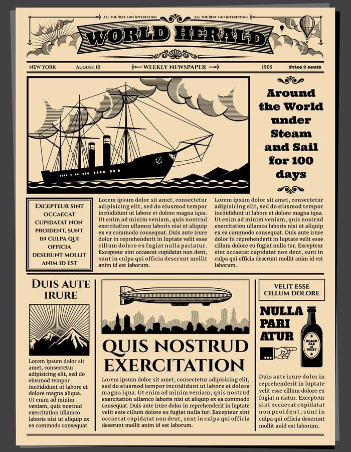 Jornal de negócio retro, modelo sujo velho do vetor do papel de jornal das folhas ilustração stock