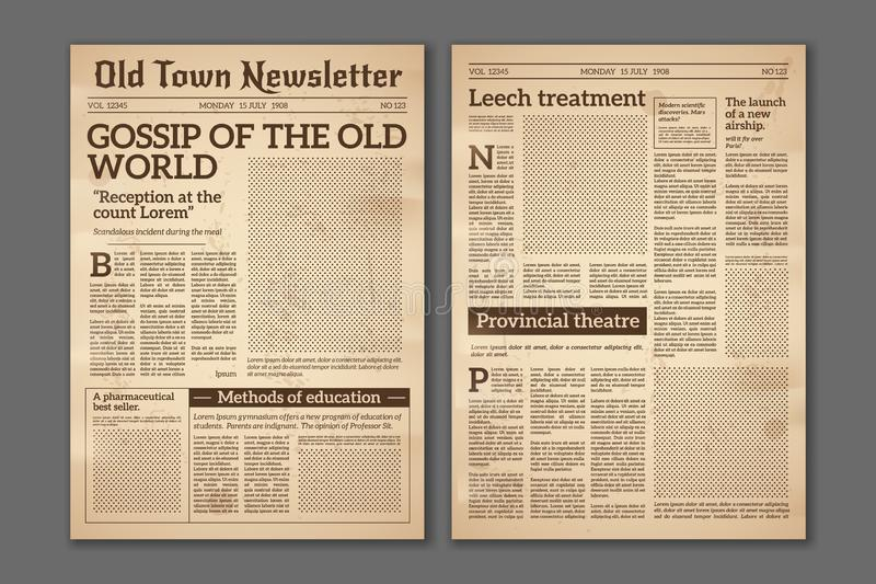 Jornal do vintage Projeto velho do compartimento do papel de jornal dos artigos noticiosos Páginas do jornal do folheto Vetor ret ilustração stock