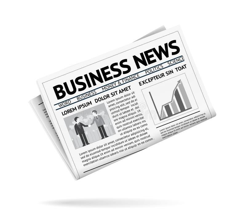 Jornal dobrado que apresenta notícias de negócios ilustração do vetor