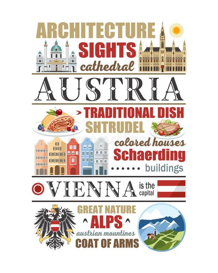 Jornal dos símbolos de estado das montanhas da natureza da arquitetura do alimento do cartaz do artigo dos símbolos de Viena da b ilustração do vetor