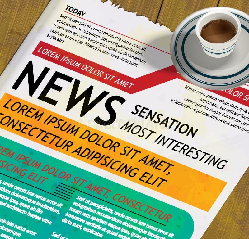 Jornal e uma chávena de café ilustração royalty free