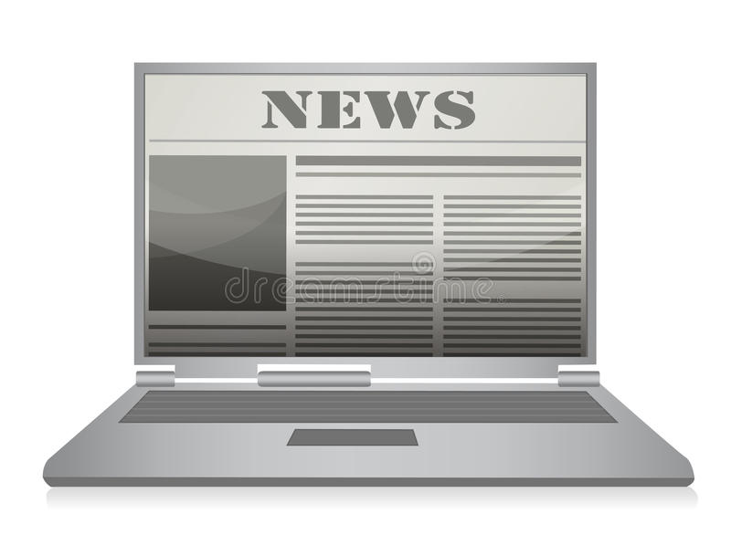 Jornal em linha. Portátil e Web site da notícia. ilustração royalty free