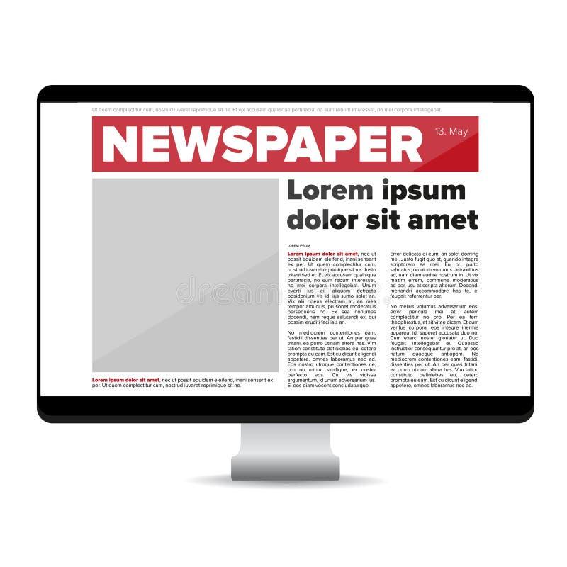 Jornal no computador da tela ilustração do vetor