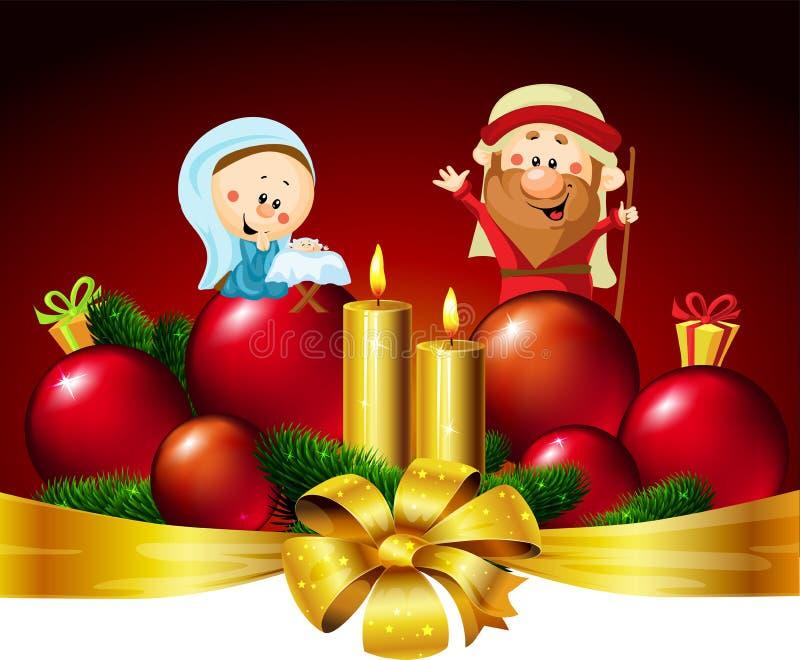 José, Maria y Jesús - ejemplo del diseño de la bandera del vector de la Navidad con la vela stock de ilustración