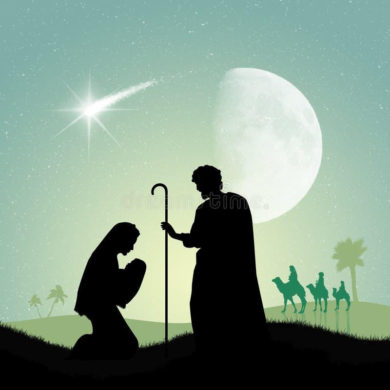 José y Maria con Jesús en el burro libre illustration