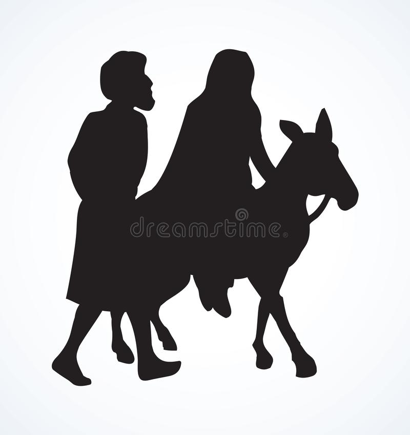 José y Maria van a Belén Gráfico del vector stock de ilustración