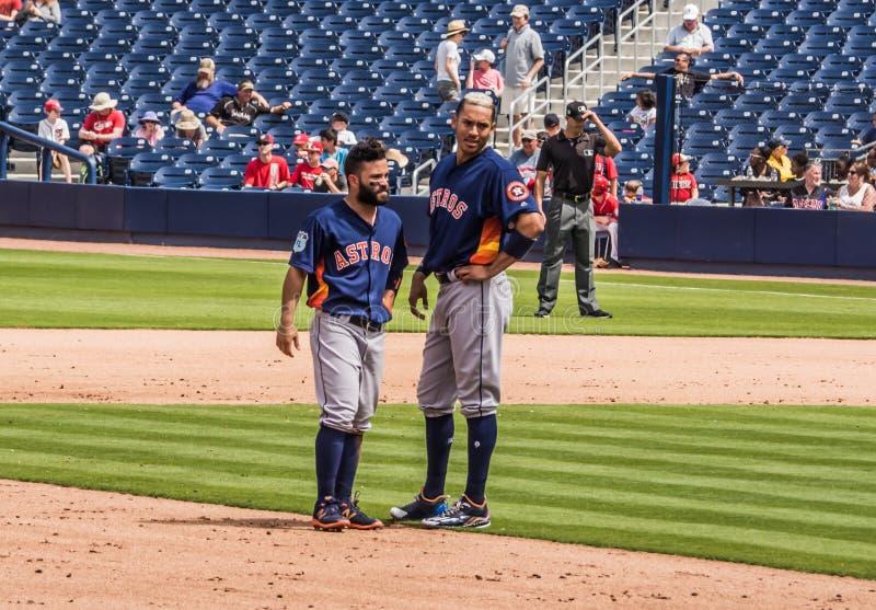 Jose Altuve Carlos Correa Houston Astros 2017 immagini stock